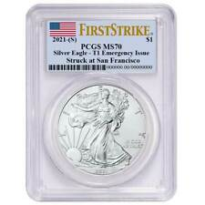Presale - 2021 (S) $1 American Silver Eagle Pcgs Ms70 Emergency Issue Fs Flag La