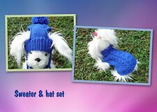 XS  handmade knit Blue dog sweater&hat set