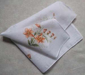 Vintage Handkerchief MENS Hankie Top Pocket Square FLORAL FLOWERS PEACHY