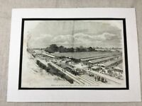 1856 Print Royal Agricultural Society Show Steam Train Chelmsford Old Antique