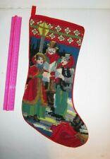 "Needlepoint Stocking Christmas wool Old World victorian carolers 18"""
