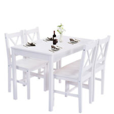 Whole Set 4 Chairs and Dinning Table Pine Wood For Living Roome/Kitchen/Dinette