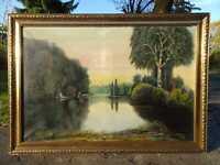 XXL Ölbild Gemälde signiert Köhn Vintage 1926 Teich Bäume - DEFEKT für Bastler