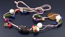 MURANO GLASS, CRYSTAL & WOODEN BEADS ON PINK DOUBLE THONG STATEMENT NECKLACE.