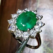 VIVID 5.31TCW Green Emerald Diamond 18K Solid White gold ring Natural Engagement