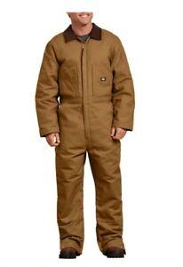 NWT Dickies Duck Insulated  Brown Tan Mens ZipUp Overalls W/Culduroy Collar