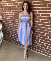 NWT Angie Smocked Blue & Coral Striped Summer Sun Midi beach Dress boho S/M/L