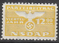 Stamp Germany Revenue WWII 1935 3rd Reich War Era Party Dues 12.90 MNH