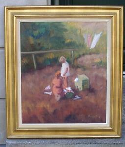 Bernhard Rolfsted (1905) Children playing in the garden. Mid-Century Danish Oil.