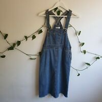 Vtg 90s Y2K Blue Denim Pinafore Overall Midi Dress M Frayed Hems Worn In Pockets