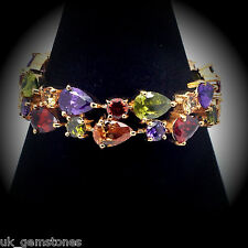 18ct Rose Gold Plated Bracelet Multicolour Zircon Crystals.17.5cm
