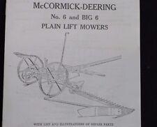 IH McCormick-Deering Big & No 6 Sickle Mower Owners & Parts Manual Horse Draft