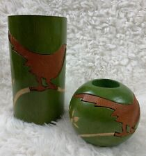 Carved Wood Set of 2 Candle Holders Large Piller & Tea Light LEATHER INLAY  Bird