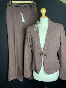 BNWT Per Una Ladies Wool Blend Plum Herringbone Trouser Suit Size  12 Long (A2)