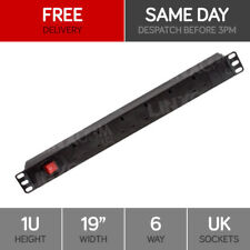 "Linxcom 6 Port/Way Power Strip PDU Plug & Socket- 1U 19"" Rack Mount"
