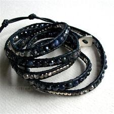 Nakamol 5 Wrap up Czech Crystal, Agate, Metal Beads Inset Navy Leather Bracelet