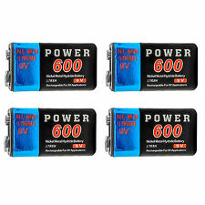 4 pcs 9V 9Volt 600mAh Ni-MH 6F22 PP3 17R8H Rechargeable Battery Power US Stock