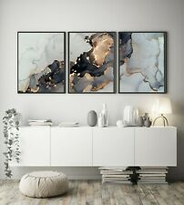 More details for a3 a4 set of 3 modern wall pictures frame posters abstract marble grey gold