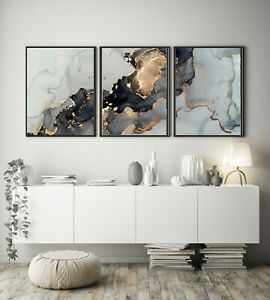A3 A4 Set of 3 Modern Wall Pictures Frame Posters Abstract Marble Grey Gold