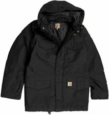 CARHARTT WIP HICKMAN COAT BLACK FABRIC WASHED XXL -5%OFF JACKET ARMY MILITAIRE