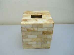 White Abalone Seashell Mother of Pearl Upright Tissue Box Cover Square Kleenex