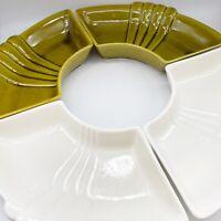 "Vtg MCM California Pottery CALIF USA L61 Lazy Susan Inserts 9""L 5""W Set Of 4"