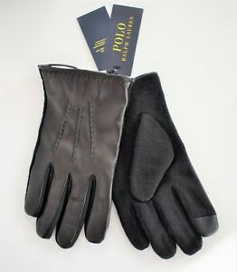 $68 New POLO RALPH LAUREN HYBRID NAPPA Leather TOUCH SCREEN Gloves M L XL