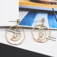 Fashion Women Gold Moon Star Geometric Statement Stud Earrings Dangle Jewelry