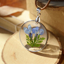 Round Glass Charms Pendant Real Dried Pressed Flower Necklace Romantic
