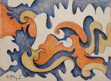 Andre Pierret dessin original crayon signé Bruxelles surrealisme expressionnisme