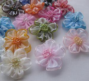 40pcs Upick Organza ribbon flowers bows Appliques Craft Wedding Dec A2036
