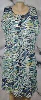 NURTURE Green Blue Beige Patterned Shirt Dress Large Cap Sleeves Solid Liner