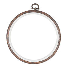 Embroidery Flexi Hoop Cross Stitch Sewing Round PLASTIC Frame Wood Colour 4 inch