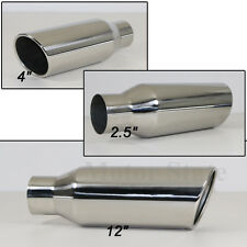 """Stainless Steel Rolled Edge Exhaust Tip 2.5"""" x 4"""" Long 12"""""""