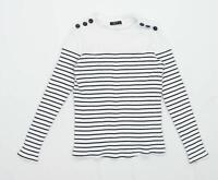 Shein Womens Size S Striped Cotton Blend White Top (Regular)