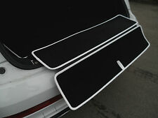 AUSKLAPPBARE Kofferraummatte für Seat Leon 5F ST + Ladekantenschutz + Rand weiß