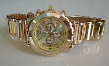 DESIGNER GOLD FINISH  CHRONO STYLE ICE STAR BRACELET  FASHION WATCH