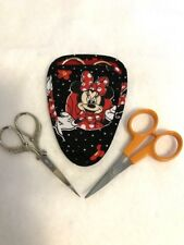 Handmade MINNIE MOUSE II on black Quilted embroidery needlework scissor holder