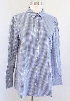 Tyler Boe Womens Blue White Gingham Plaid Button Down Shirt Blouse Size S