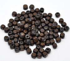 300 Stück Holzperlen Würfel Form Kaffeebraun basteln D. 8x8mm Loch 2mm Basteln