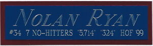 NOLAN RYAN TEXAS RANGERS NAMEPLATE FOR YOUR AUTOGRAPHED Signed Baseball JERSEY