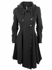 Black Asymmetric Stand Collar Long Sleeve Overcoat Fashion Women Coat Jacket S