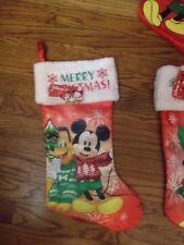 "Disney Mickey Mouse & Pluto Merry Christmas 20"" Red- White & Green Stocking Nwt"