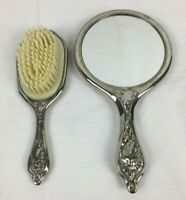 2 Piece VANITY SET Vintage Silver Tone Art Nouveau Floral Design BRUSH & MIRROR
