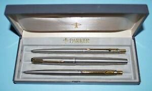 Vintage Parker 65 Flighter De Luxe Fountain Pen , Ballpoint and Pencil set in Or