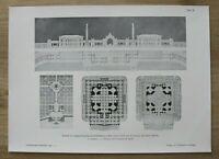 AR1) Architektur Wien 1901 Entwurf Centralfriedhof Portal Grundrisse 27x37 cm