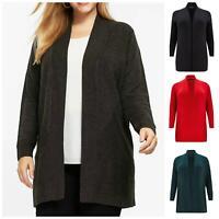 EVANS Plus Size Ladies Ribbed Textured Edge to Edge Open Plain Cardigan