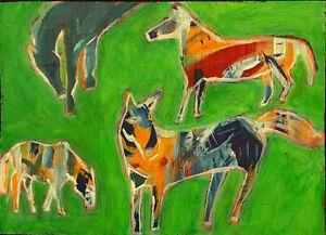 WILD HORSES Raw Folk Art Brut Painting Outsider T. Marie Nolan Original Vision