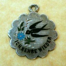 Antique Austrian Silver Enamel Good Luck Charm Swallow Forget Me Not Flower