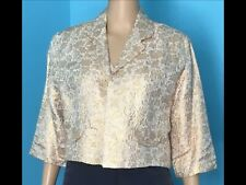 Vintage Speciality House Lightweight Floral Brocade Bolero Jacket W/3/4 Sleeves